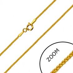 Eckige Kette aus 14K Gelbgold - dicht verflochtene Glieder, Federringverschluss, 500 mm