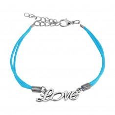 """Hellblaues Schnur-Armband, dekorative Aufschrift """"Love"""" in silberner Farbe"""