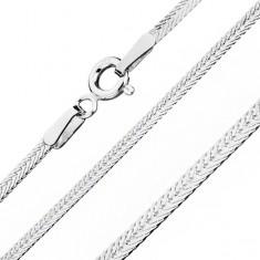 Silberkette 925, abgeflacht mit schräg gelegten Augen, Kettenbreite 1,8 mm, Kettenlänge 550 mm