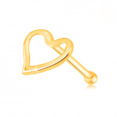 375 Gelbgold Nasenpiercing – ein Herz mit einem Ausschnitt in der Mitte