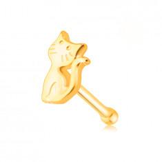 9K Gold Nasenpiercing – eine Katze mit einem gehobenen Schwanz