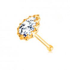 375 Gold Piercing – klare Zirkon Träne mit einem geriffelten Rand gesäumt