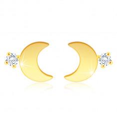 14K Gold Ohrringe – glänzender Halbmond, ein klarer Zirkon