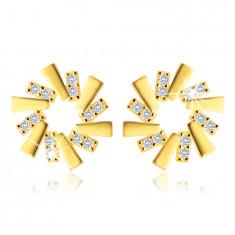 Ohrringe aus 375 Gelbgold – runde Blume, rechteckige Blütenblätter, klare Zirkone