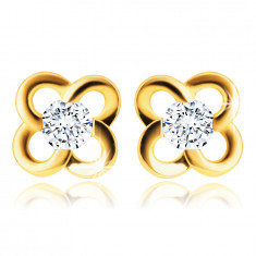 585 Gold Ohrringe – Blume mit einem klaren Zirkon, runde Blütenblätter