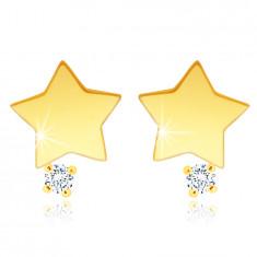 14K Gelbgold Ohrstecker – ein Stern mit einem klaren Zirkon