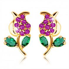 Ohrringe aus 14K Gelbgold – Tulpe mit einem Stiel und Blättern, grüne und rosa Zirkone