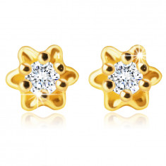 585 Gold Ohrringe – Blume mit einem klaren Zirkon in der Mitte