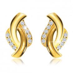 375 Gold Ohrringe – zwei glänzende Halbkreise, klare Zirkon Säume