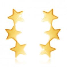9K Gold Ohrringe – drei verbundene glänzende Sterne