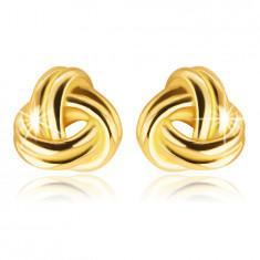 9K Gelbgold Ohrringe – glänzendes Geflecht aus drei Doppelstreifen