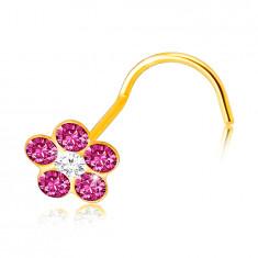 9K Gelbgold Piercing mit gebogenem Ende – rosa Blume, klarer Zirkon