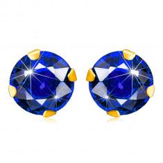 Ohrringe aus 375 Gelbgold – dunkelblauer Zirkon in runder Form