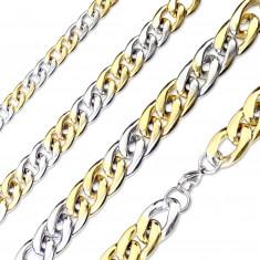 Stahlkette in silberner-goldener Farbausführung – leicht abgeschrägte glänzende Glieder, 15 mm