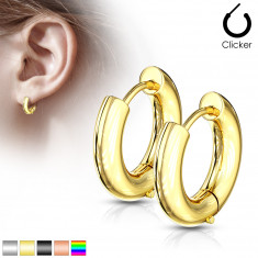 Ohrringe aus Chirurgenstahl – breitere Kreise mit glatter Oberfläche, Durchmesser 16 mm