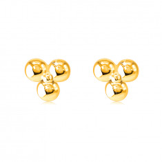 Ohrringe aus 9K Gold – drei Kugeln durch eine kleinere glänzende Kugel verbunden, Ohrstecker