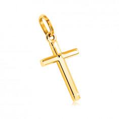 Anhänger aus 9K Gelbgold – Kreuz mit einer glatten und spiegelglänzenden Oberfläche