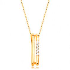Halskette aus 14K Gelbgold – zwei dünne vertikale Streifen, Linie aus klaren Zirkonen
