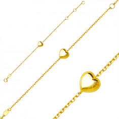 Kinderarmband aus 9K Gelbgold – glänzendes glattes Herz, Federringverschluss