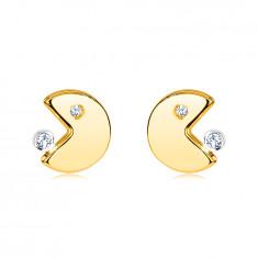 Ohrringe aus 14K Gold – Emoticon mit offenem Mund frisst einen Zirkon