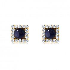 Ohrringe aus 14K Gelbgold – Quadrat mit einem runden Saphir, klare Zirkone, Ohrstecker