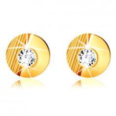 14K Gold Ohrringe – Kreis mit Einschnitten, glatter Halbkreis, eingebetteter runder Zirkon, Ohrstecker