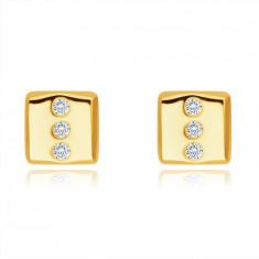 14K Gold Ohrringe – Rechteck mit drei runden klaren Zirkonen, Ohrstecker