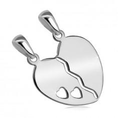 925 Silber Doppelanhänger – geteiltes Herz mit einem Ausschnitt aus zwei kleinen Herzen
