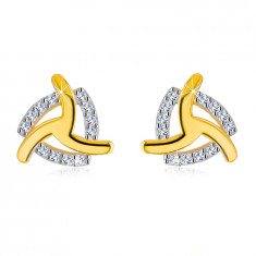 14K Gelbgold Ohrringe – drei gebogene Arme, Zirkon Dreieckskontur