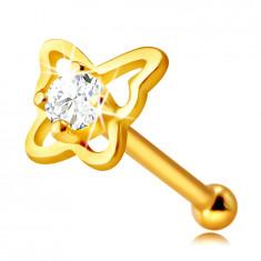 Diamant Nasenpiercing aus 14K Gelbgold – Schmetterling-Umriss mit einem Brillanten, 1,75 mm