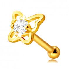 Diamant Piercing aus 14K Gelbgold – Schmetterling-Umriss mit einem Brillanten, 1,5 mm