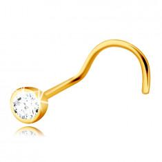 Diamant Piercing aus 14K Gelbgold, gebogen – Brillant in einer runden Fassung, 2 mm