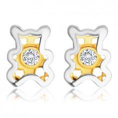 Diamant Ohrringe aus kombiniertem 585 Gold – Teddybär mit einem klaren Brillanten