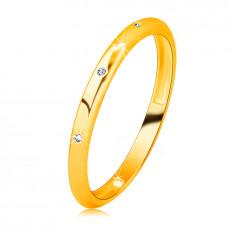 14K Gelbgold Brillant Ehering – drei runde klare Diamanten, glatte Oberfläche