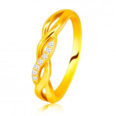 Glänzender Ring aus 14K Gelbgold – ineinander verschlungene Wellen, Linie aus Brillanten