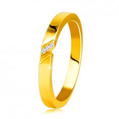 14K Gelbgold Diamantring – Ring mit einem feinen Einschnitt, klare Brillanten