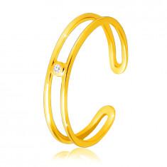 Diamantring aus 14K Gelbgold – dünne offene Ringschiene, klarer Brillant