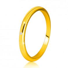14K Gelbgold Diamantring – dünne glatte Ringschiene, klarer Brillant