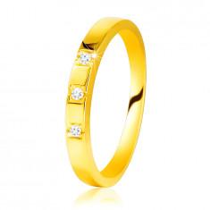585 Gelbgold Diamantring – glänzende Ringschiene, drei glitzernde Brillanten