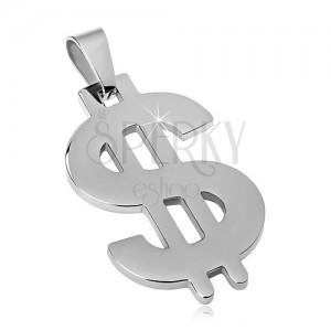 Kettenanhänger aus 316L Stahl in silberner Farbe, Dollar