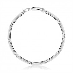 925 Silber Armband – rechteckige Glieder aus dünnen Streifen, Karabinerverschluss