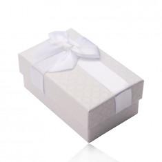 Geschenkschachtel für Ring, Anhänger und Ohrringe, perlweiße Farbe, Schleife