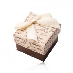 Geschenkschachtel mit Schleife für Ohrringe oder Ring - beige-braune Kombination, Text