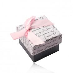 Geschenkschachtel mit Schleife für Ohrringe oder Ring - anthrazit-weiße Kombination, Text