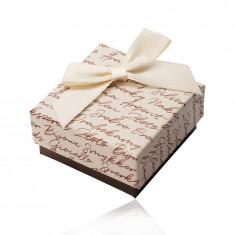 Geschenkschachtel für Ohrringe oder Ringe - beige-braune Kombination, Schleife, Aufschrift