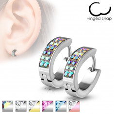Scharnier Ohrringe aus Stahl - Oval mit kleinen Zirkonen geschmückt, silberne Farbe