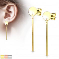 Stahl Ohrringe - runde Platte und ein hängendes Stäbchen, Ohrsteckerverschluss
