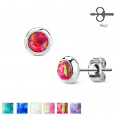 Ohrringe aus Chirurgenstahl - synthetischer Opal in einer Fassung, verschiedene Farben, 6 mm
