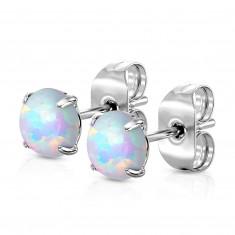 Stahl Ohrringe - blauer runder synthetischer Opal, Ohrsteckerverschluss