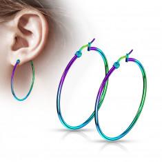 316L Stahl Ohrringe – Reifen mit Regenbogen-Widerschein, eloxiert, verschiedene Größen